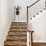 Bestine 6PCS 3D Treppenaufkleber, Umweltfreundliche Selbstklebende PVC-Treppenaufkleber Abnehmbare wasserdichte Treppenaufkleber für Hauptschlafzimmer Wohnzimmer Dekor (A)