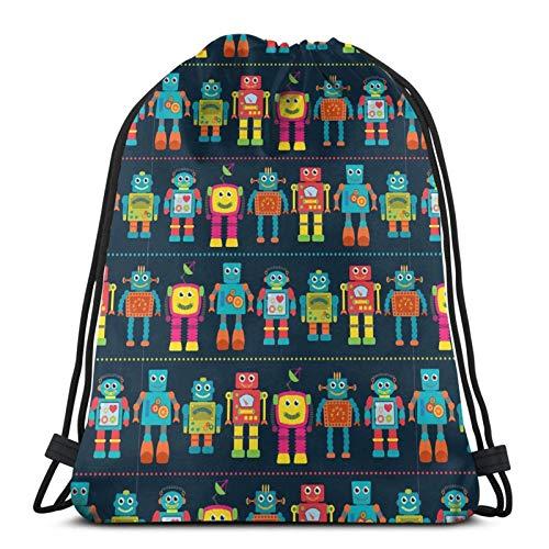 CherishU Unisex drawstring backpack Color Robot Outdoor light drawstring bag, gift bag