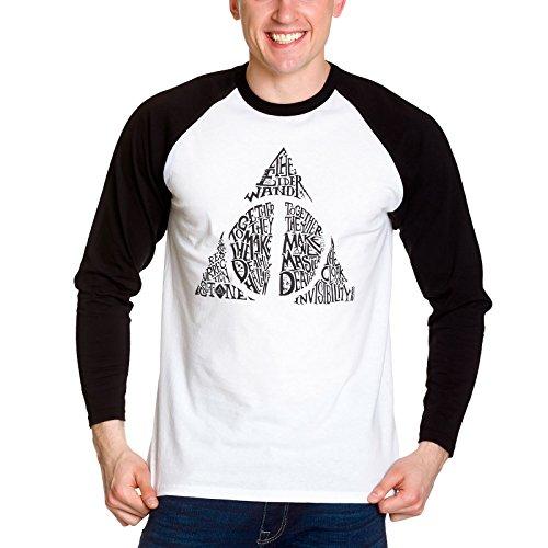 Harry Potter Herren Symbol Langarmshirt, Weiß (Weiß), L