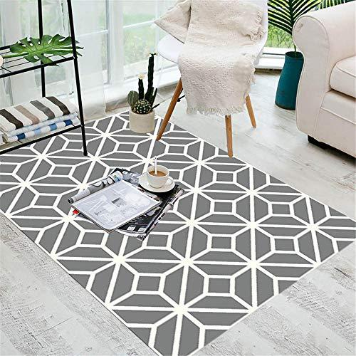 Alfombra Juvenil Dormitorio gris Alfombra de salón gris delgada línea patrón geométrico alfombra anti-sucia duradera Alfombras De Habitacion Pequeñas El 180X200CM Alfombra Para Niñas 5ft 10.9''X6ft 6.