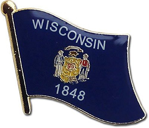 Wholesale Pack of 3 State of Wisconsin Flag Bike Hat Cap lapel Pin
