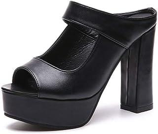 Cosplay-X Women's Slip-On Peep Toe Sandals Summer Platform Stacked Block Heel Mule Sexy Slippers for Wedding Party