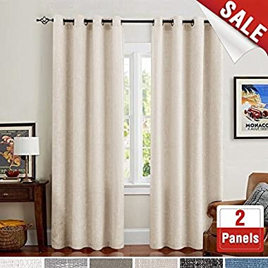 Linen Curtains for Bedroom Room Darkening Drapes for Living Room Burlap Flax Window Curtains 84 inch Ivory 2 Panels