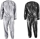 GRHOSE Heavy Duty Sweat Sauna Suits Weight Loss Exercise Gym Fitness Sports Running Workout Sauna Suit Anti-Rip for Men Women(Black,XXL)