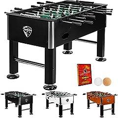 Tuniro® Table de baby-foot Basic Noir Kicker de table pré-assemblé, certifié antipollution, BTFV