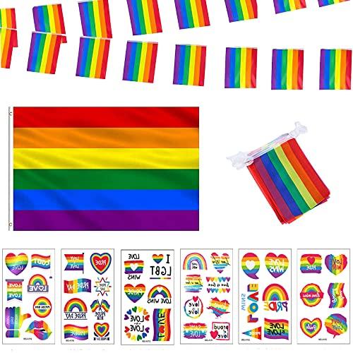 Bandiere dell'arcobaleno Orgoglio Gay Pride Decorazioni Bandiera 60 x 90 cm Grande LGBT Bandiera 10 piccole palmare Stick Bandiere e 1 Stringa Arcobaleno e 6 Tatuaggi Gay Pride
