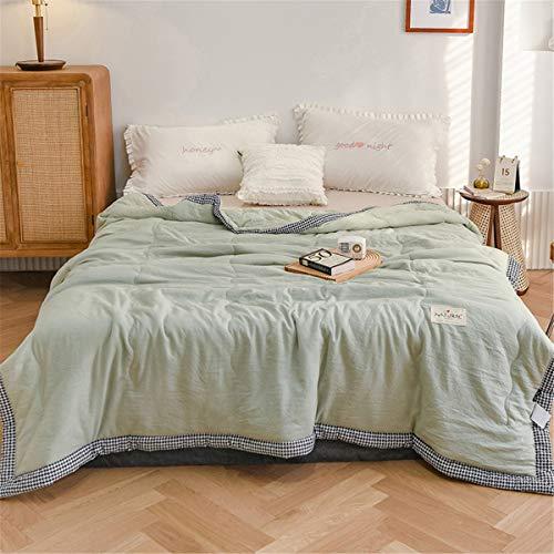 Chickwin Tagesdecke Bettüberwurf Gesteppt, Mikrofaser Tagesdecke Schlafzimmer Steppdecke Decke Überwurf Wohnzimmer Sofaüberwurf für Einzelbett Doppelbett (Grün Hahnentritt,150x200cm)