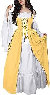 SuperXC Women's Medieval Dress Renaissance Costume Halloween Cosplay Costumes Vintage Retro Gown Victorian Irish Long Dresses