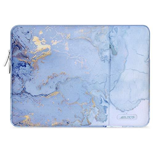 MOSISO Funda Tableta Compatible con 2020 iPad Pro 11 Pulgadas/iPad 7 10.2 2019/10.5 iPad Air 3/10.5 iPad Pro/iPad 9.7/Surface Go/Samsung Galaxy Tab,Bolsa Vertical de Poliéster Acuarela Mármol, Azul