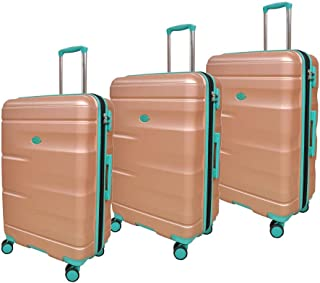 Track Luggage Trolley Bags Set of 3 Pieces, Silver - HK081/3P