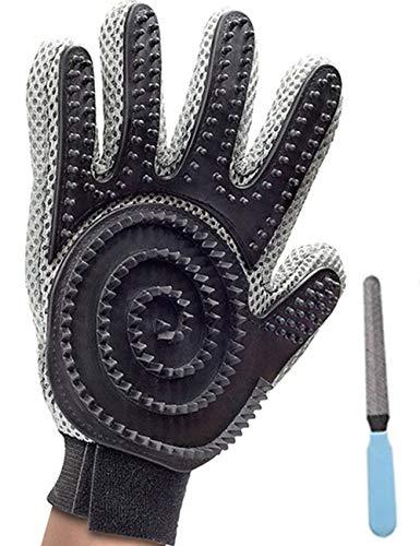 Nifogo Fellpflege-Handschuh,Haar Entferner,Hundesalon-Handschuh,Tierhaar Handschuh für Hunde,Haustier Grooming Bürsten,2-in-1 Massagegerät mit verbessertem Finger-Design - für Hunde und Katzen