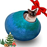 Juccini Handcrafted Felted Wool Cat Cave Bed for Cats and Kittens - Perfect Cat beds for Indoor Cats - Felted from 100% Natural Wool (Green/Blue Cave, Medium)