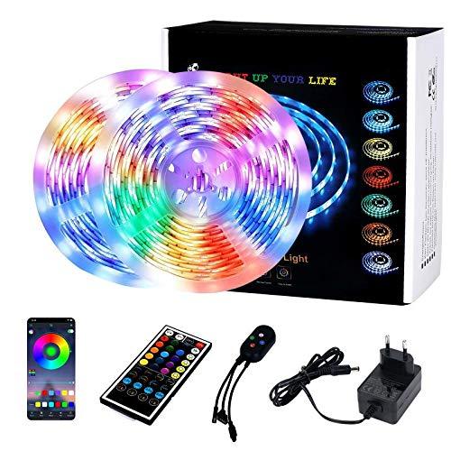 KINOLA LED-Streifenleuchten, 10M/32,8ft RGB Lights Strip-Kit Farbwechsel, 40-Tasten-Fernbedienung, Sync to Music Apply, APP Bluetooth-Controller LED-Lichtseile für Heimfernsehpartys im Schlafzimmer