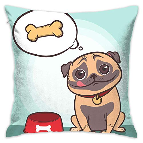 N/Q Decorative Throw Pillow Cover Hungry Pug Cushion Covers Pillow Cases for Sofa Bedroom Car Chair 18 X 18 Inch
