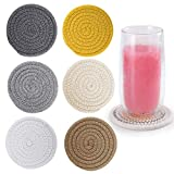 6Pcs Drink Coasters, ABenkle Stylish Handmade Braided Drink Coasters (4.3inch), Super Absorbent Heat-Resistant Round Coasters for Drinks, Great Housewarming Gift (6 Color-B)…