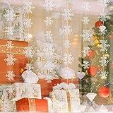 Matogle 3er hängende weiße Papier Schneeflocken 3 x 3 Meter Weihnachten 3D Girlande Schneeflocken Deko zum aufhängen, wiederverwendbar und dekorativ, für Winterparty Outdoor Neujahr Hochzeit - 3