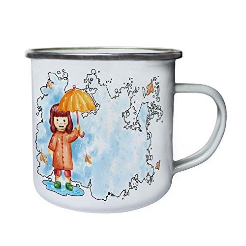 INNOGLEN Smile Mädchen Regenschirm Retro, Zinn, Emaille 10oz/280ml Becher Tasse p756e