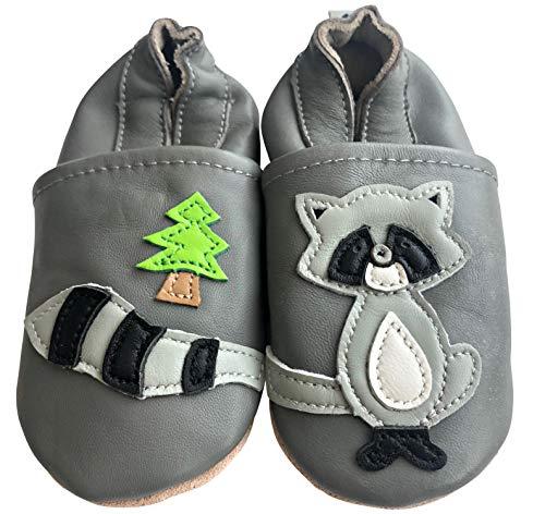 ENGEL + PIRATEN Krabbelschuhe - MARKENQUALITÄT viele Motive bis 4 Jahre Babyschuhe Leder Babyhausschuhe Lauflernschuhe Lederpuschen (24/25 EU, Waschbär)