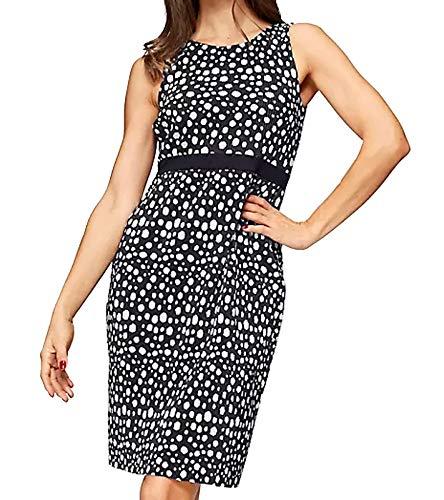vivance Collection Kleid figurbetontes Damen Etui-Kleid mit unregelmäßig gepunktetem Design Maschen-Kleid Ausgeh-Kleid Schwarz, Größe:34