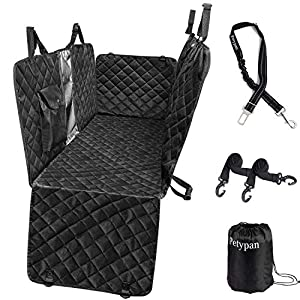 Petypan 100% Waterproof Anti Slip Car Back Dog Hammock Pet Car Seat Cover with Mesh Window Side Flap ,Pet Seat Cover for Back Seat – Black