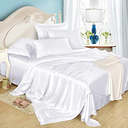 LilySilk 4Pcs Silk Bed Sheets Flat Sheet Fitted Sheet Oxford Pillowcases Set...