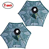 TTFisher Fishing Net Trap Portable Folded Foldable Crab Net Cast Dip Bait Fish Shrimp Crawfish Langostino Cage mesh Automatic (Small Size,Pack of 2,for Kids)