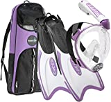 Cressi Italian Designed Premium 180° Full Face Snorkel Mask with Advanced Breathing System - Panoramic Side Snorkel Set Design - and Palau Long Snorkeling Fins and Snorkel Set Gear Bag, Lilac - SM