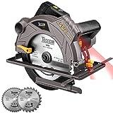 Sega circolare, 1500W 5800 RPM TECCPO sega circolare laser, 2 lame Ø185mm (24T & 40T), massima profondità di taglio: 63mm (90°), 45mm (45°), motore in rame puro, adatto per il taglio di vari legni.