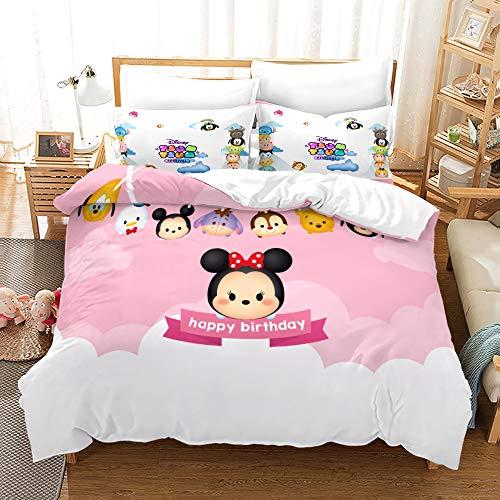 YOMOCO Tsum Tsum Juego de ropa de cama – Disney infantil funda nórdica y 2 fundas de almohada, microfibra, suave (02, King 240 x 220 cm + 50 x 75 cm x 2)