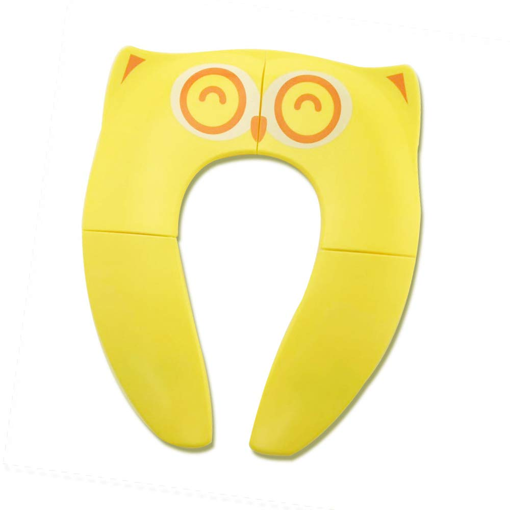 WeTest Upgraded Kids Folding Toilet Seat,Large Non Slip Silicone Pads Travel Portable Reusable Toilet Potty Training Seat Covers Liners with Carry Bag for Babies, Toddlers (Yellow)