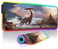 ゲーミングマウスパッドゲーマーマンガマウスパッドゲーミングアニメデスクマットキーボードマットRGBLEDホライゾンゼロドーン31.5x11.8インチ用に光る