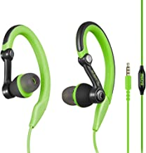 Mucro Sports Headphones Wired Headset Ear Hook Earphones Over Ear Earbuds with Microphone, in Ear Running Earphones for Workout Gym Compatible with Phone (Green)