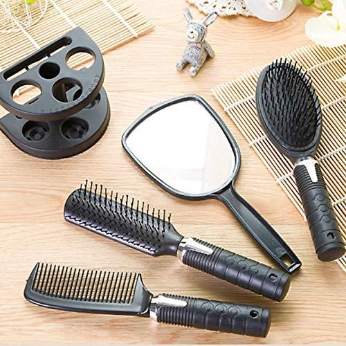 Haute Qualité En Plastique Salon De Coiffure Peigne Et Miroir Set Brosse À Cheveux De Massage Peigne Miroir Titulaire Brosse À Cheveux Styling Outils (couleur: noir)