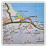 Impresionantes pegatinas cuadradas (juego de 2) 7,5 cm – Dunbar Scotland Travel UK GB Map Fun Decals para portátiles, tabletas, equipaje, reserva de chatarras, neveras, regalo genial #44917