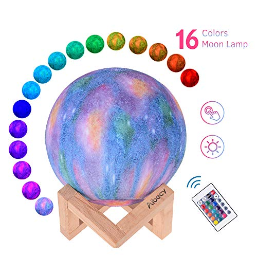 Aibecy LED Moon Lamp Moon Night Light 3D Printed Large Lunar Lamp with Stand USB Cable 16 Glowing Colors Remote Control & TouchControl Rechargeable Brightness Adjustable Home Light