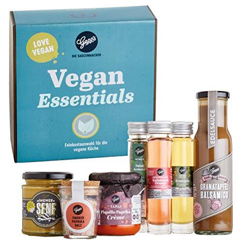 Gepp's Feinkost Vegan Essentials Geschenkbox I Gefüllt mit veganen Köstlichkeiten, hergestellt nach eigener Rezeptur I Tolles Geschenk für alle Freunde der Veganen Küche (A0012)