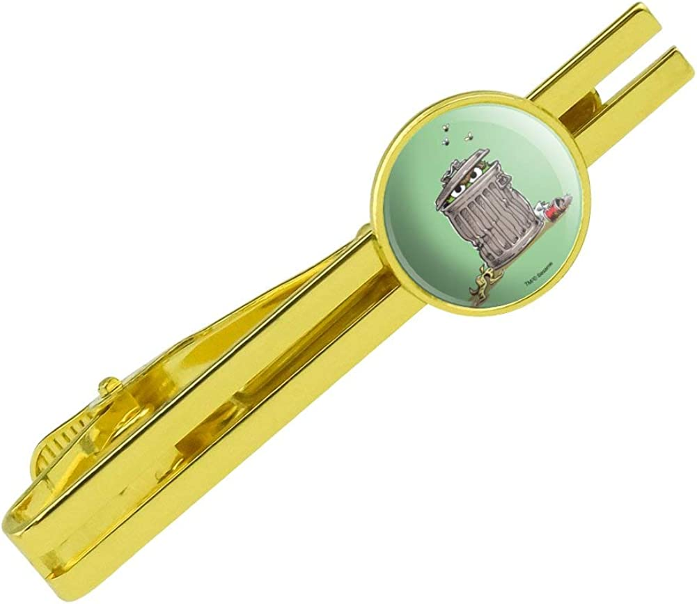 GRAPHICS & MORE Sesame Street Trash Can Oscar The Grouch Round Tie Bar Clip Clasp Tack Gold Color Plated