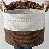 Cosyland Cesta de cuerda de algodón para la ropa sucia, cesta de almacenamiento para bebé, cesta trenzada con asa, para salón, suelo, habitación de los niños, mantas, cojines y juguetes, marrón
