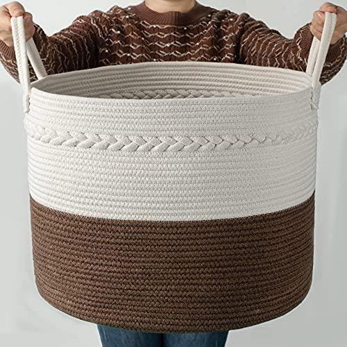 Cosyland Cesta de cuerda de algodón para la ropa sucia, cesta de...