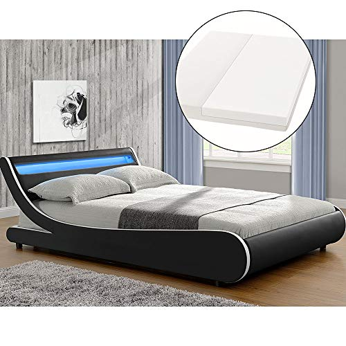 ArtLife Polsterbett Valencia komplett mit Kaltschaum-Matratze, Lattenrost und LED Beleuchtung im Kopfteil | 140 x 200 cm | schwarz | Bett Jugendbett