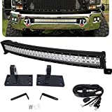 32 inch Curved Light Bar &Hidden Bumper Tow Hook Mounting Bracket Compatible with 2010-2020 Dodge RAM 2500/3500/4500 4th Gen