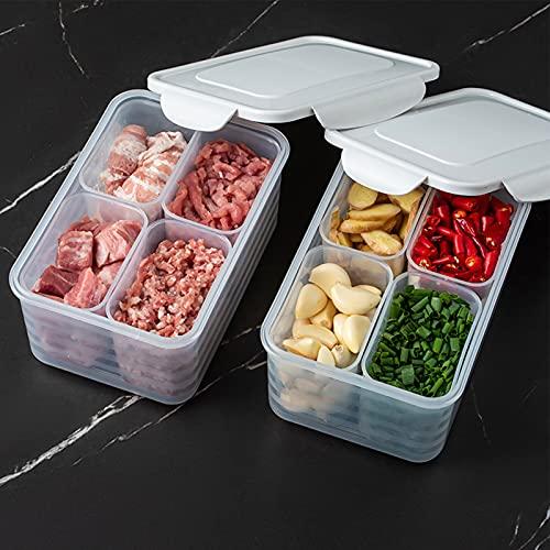 Rutaqian Scatola di immagazzinaggio Alimentare PP Trasparente PP 4 Scomparti con Scatola di conservazione del Grano sigillato sigillato per Cucina 1 Set Beige