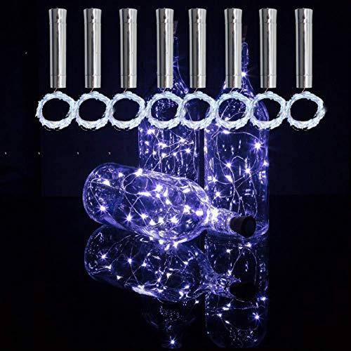 TYXSHIYE - 8 corchos con cadena de luces LED de color blanco frío, 2 m, 20 ledes, pilas AA, siempre iluminadas, botellas de vino, luz de corcho, luz para botellas, fiestas, bodas, Navidad