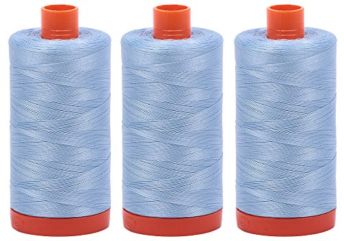Best Buy! Bundle of 3 Large 1422 Yard Spools of Aurifil 50wt Egyptian Cotton Thread, Color: Robins E...