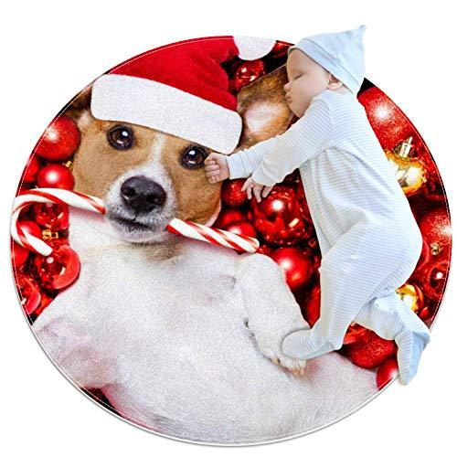 Tappeto rotondo a forma di cane di Natale con palle di Natale, per camera da letto dei bambini, tappeto da 70 cm 80x80cm/31.5x31.5IN Multi