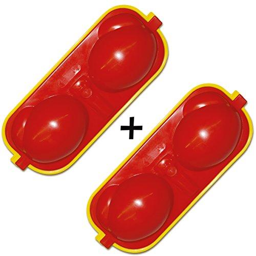 Maulwurfshop 2 x Eierbehälter Eierträger 2-Fach mit Salzstreuer und Löffel rot/gelb