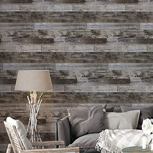 Okydoky Wood Peel and Stick Wallpaper, Wood Wallpaper Self Adhesive, Dark Grey Distressed Wood Plank, Removable Contact Paper for Home & Furniture, Shiplap Wood Pattern 17.7'x118', 920481-3