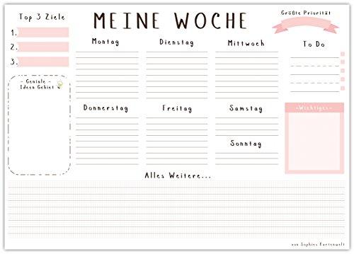 Schreibtischunterlage MEINE WOCHE, aus Papier zum Abreißen - DIN A3 (42 x 29,7 cm) Schreibunterlage mit 25 Blatt - Papierunterlage für Kinder und Erwachsene - Abrissblock mit Wochenplaner in Rosa
