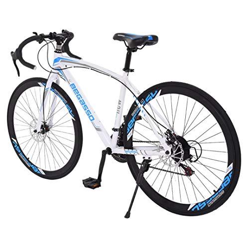 Begasso Shimanos Aluminum Full Suspension Road Bike 21 Speed Disc Brakes, 26 inch Road Bike Bicycles, Lightweight Durable Aluminum Road Bike, 700c Tire, Mens/Womens Fashionable Bikes