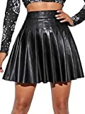 SheIn Women's High Waist PU Leather Pleated Solid Short Mini Skater Skirt Black Large